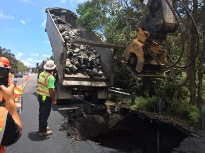 Mamalahoa Highway repairs in Hawaii