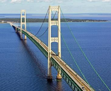 Mackinac Bridge in Michigan; bridge monitoring sensors