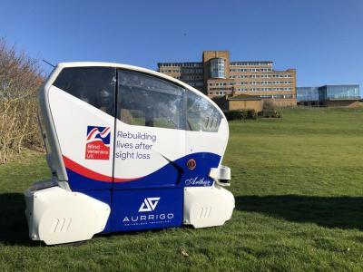 Aurrigo driverless pod for visually impaired