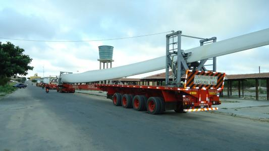 Brazilian wind turbine on truck