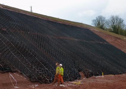 steep, cut slope in road reconstruction project, Devon, U.K.