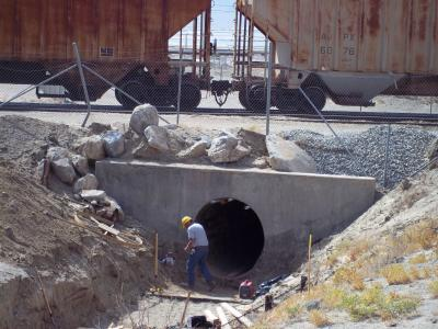 Calif  mineral company re-lines damaged culvert under