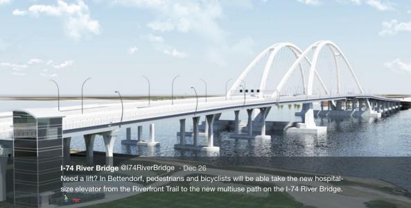 Illinois-Iowa I-74 bridge will feature eight-story pedestrian elevator