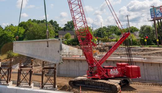 I-77 Broadway Avenue bridge crawler crane