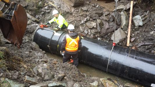 HDPE pipe battles Mother Nature to rehabilitate weathered pipe in Ketchikan, Alaska