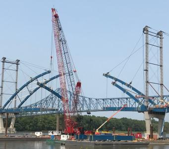 crawler crane U.S. 52 bridge