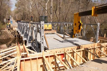 VDOT builds the compact panel bridge on Route 721 in Fredericksburg, Va.
