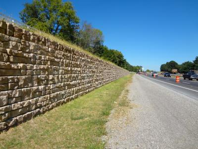 All lanes of traffic remained open during construction of the Redi-Rock retaining walls, which are designed to install quickly and within a small footprint.