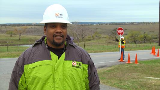 Mike Jones, N-Line area flagging supervisor, discusses benefits of TPRS arrays in work zones.