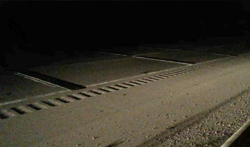 The rumble strips were set out in a dual three-strip array.