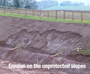 Erosion on the unprotected slopes