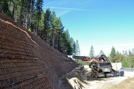 Geogrids, custom wire form facing and rock anchor system for Lake Tahoe, Nev., project