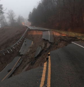 road collapse mudslide Tennessee SH 70N