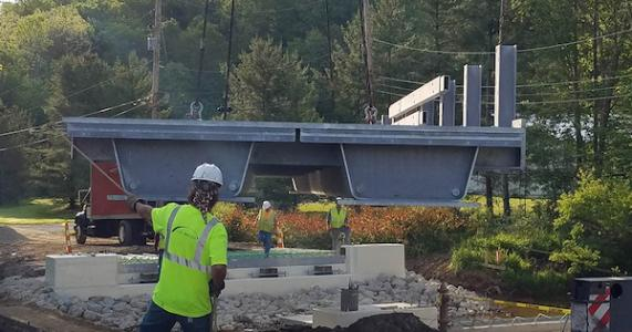 tub girders being placed for Cannelville Road Bridge Project in Ohio