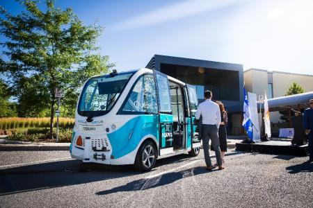 First U.S. made autonomous electric vehicle on the road near Quebec, Canada