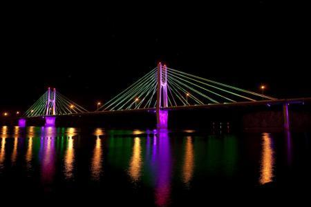 Bayview Bridge illuminated (purple)