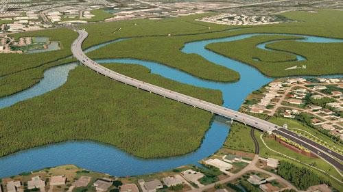 An aerial view of the Crosstown Parkway's 4,000-ft-long bridge over the St. Lucie River.