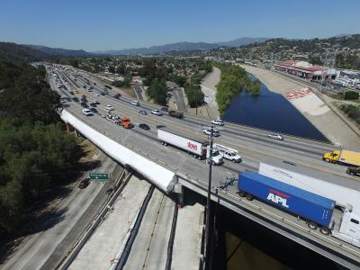 The northwestern portion of the Viaduct crosses the Los Angeles River, the Los Angeles River Greenway Trail and Riverside Drive. The PVC shrink-wrap contains the blasting media and byproducts.