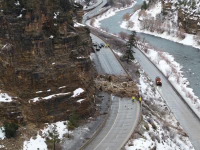 I-70 Rockslide Colorado Glenwood Canyon