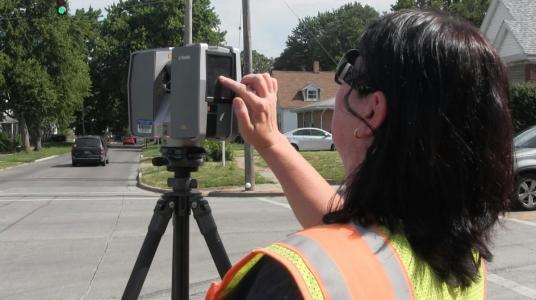 IDOT survey crew member