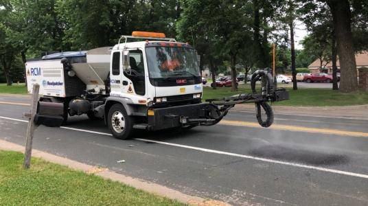 Truck-mounted spray patchers can be operated by just one worker, helping municipalities save on labor costs.
