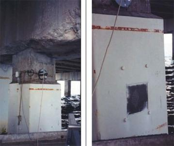 A general view of a bridge pile protected with jacketed zinc anodes. The photo on the right reveals the zinc mesh that is covered by a thin coat of mortar