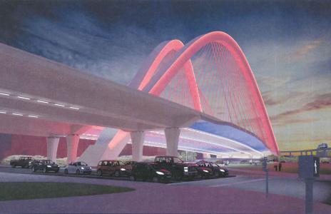 new signature bridge spanning Biscayne Boulevard in downtown Miami