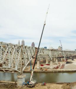 "The George V. Voinovich (formerly ""Innerbelt"") bridge is a vital link into downtown Cleveland, serving 140,000 motorists each day"