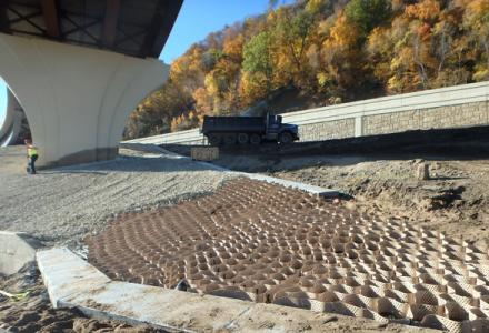 Stabilization & the harmonious blending of highway interchange slopes