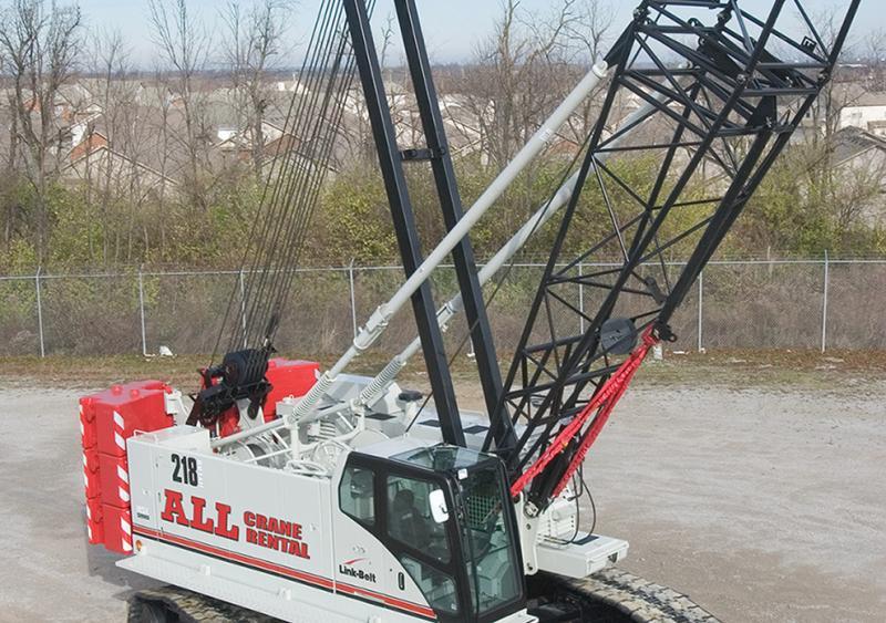 110-ton Link-Belt 218 HSL crawler crane on West Waukesha Bypass