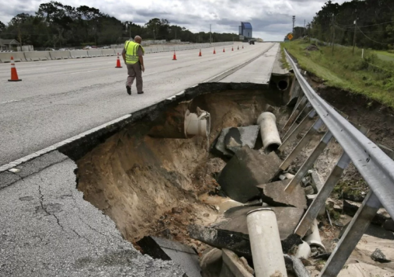 Damaged I-4 Florida after Hurricane Irma