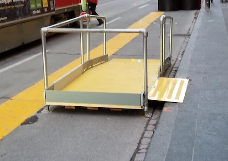 BoardWalk Ramp and Platform with detectable warning stripe