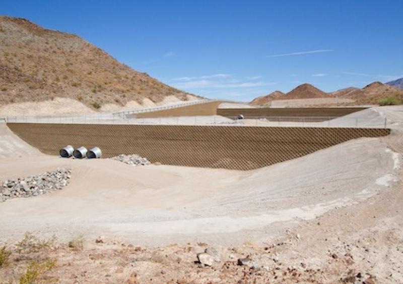 Geogrid helps manage floodwaters near Lake Havasu, Ariz.