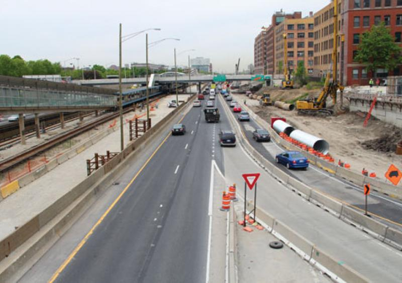 Work on the westbound auxiliary lane on I-290 in the early summer.