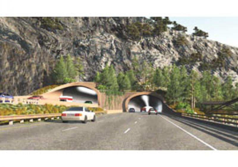 """The new """"Twins"""" offer three 12-ft driving lanes, a 4-ft inside shoulder and a 10-ft outside shoulder, as well as portal extensions beyond the rock face."""