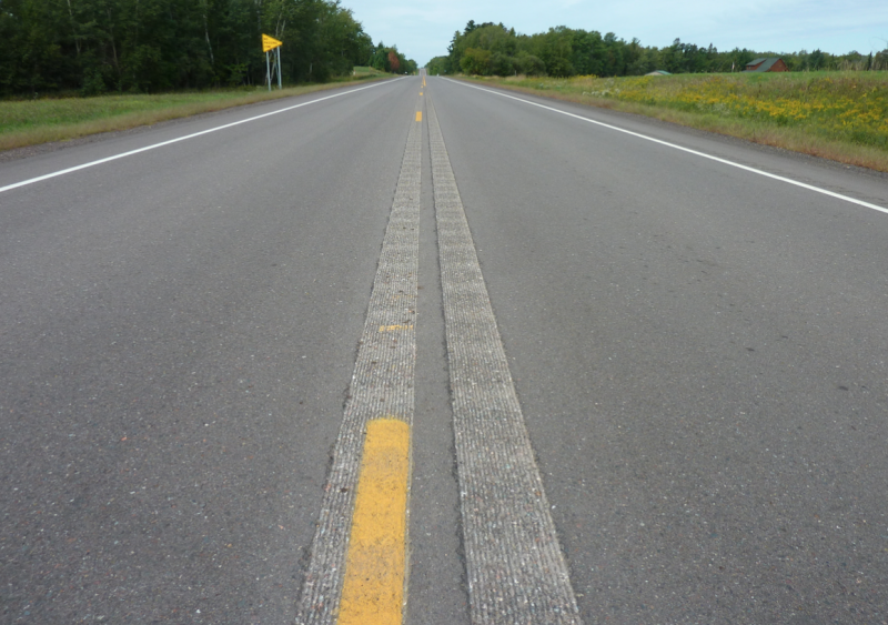 A double strip configuration was tested at the MnROAD facility in Albertville, Minn.