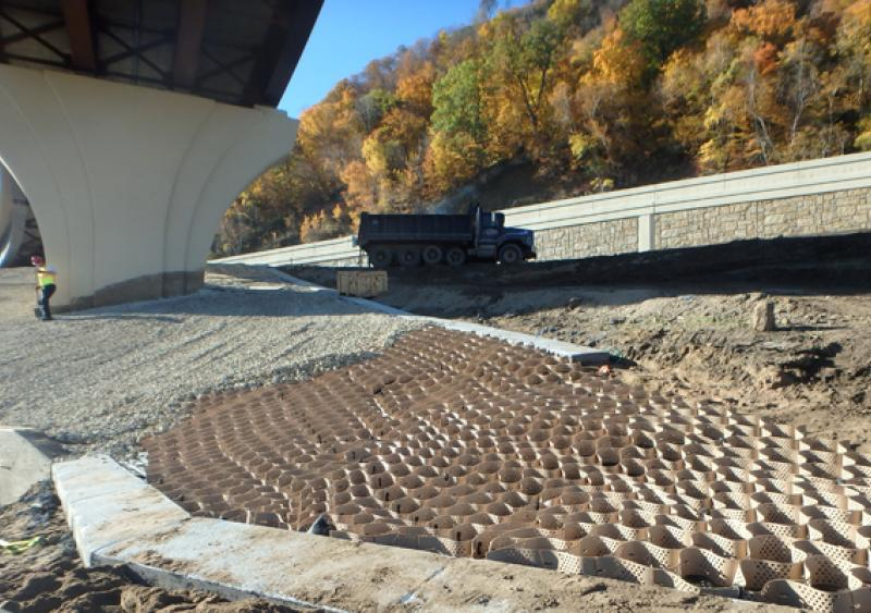 Stabilization & the harmonious blending of highway interchange slopes