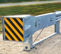 The MASH Sequential Kinking Terminal (MSKT) distributed by Gregory is an energy-absorbing, tangent terminal that's MASH TL-3 compliant. During head-on impacts, the MSKT head slides over the w-beam guardrail, sequentially kinking it. The kinked rail exits the head and the vehicle comes to a controlled stop.