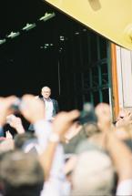 President George W. Bush acknowledges the crowd of over 4,000 at the SAFETEA-LU signing ceremony.