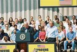 Speaker of the House Dennis Hastert introduces President Bush.