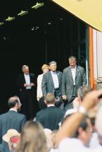 U.S. Secretary of Transportation Norm Mineta arrives at the SAFETEA-LU signing ceremony at a Caterpillar plant in Montgomery, Ill.