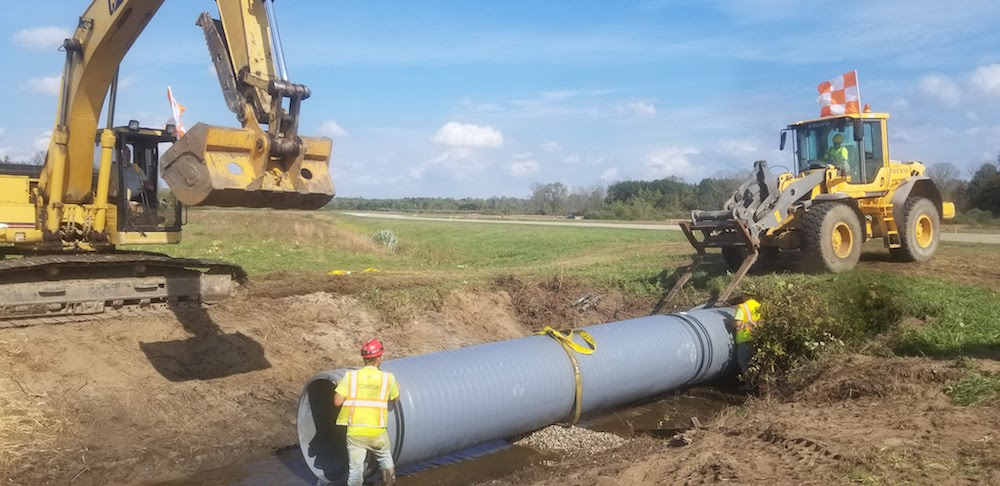A 300-ft pipeline was installed below the South Haven Regional Airport's main runway without impacting flight operations.