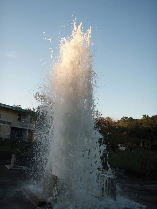 Central Florida geyser sewers drainage