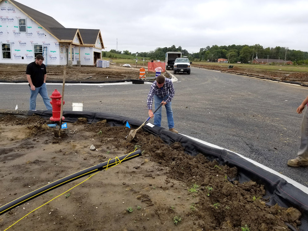 The team installed approximately 2,000 ft per day.