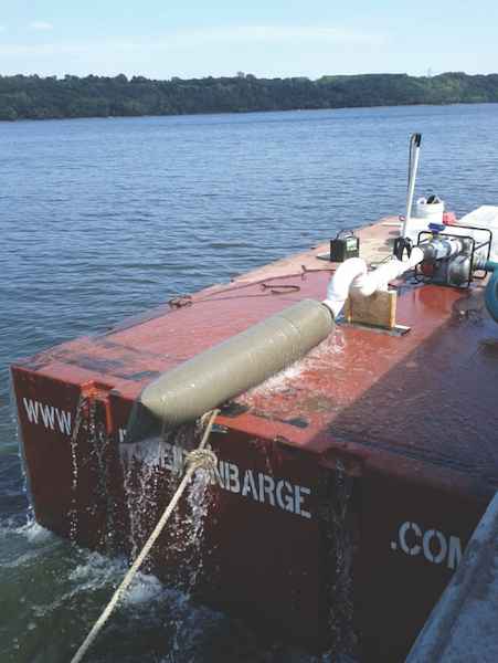 The barge now releases regulatory-approved water into the river.