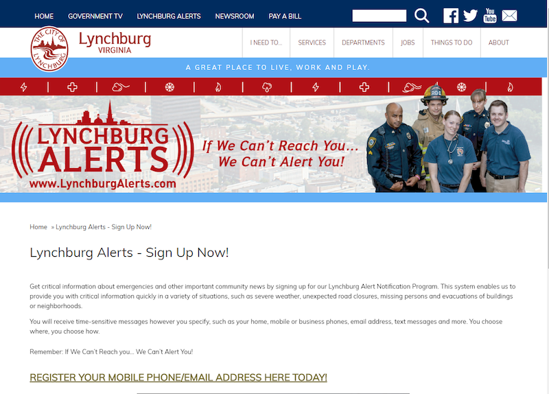 """The """"Lynchburg Alerts"""" system was an ideal option for CSO alerts."""