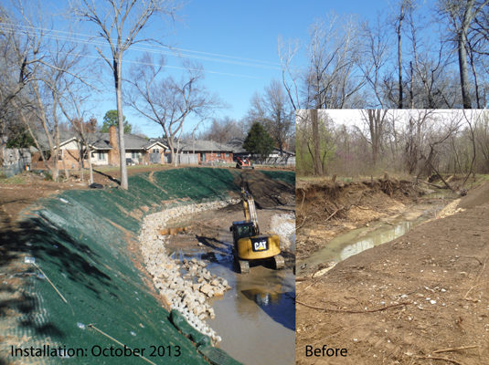 Armormax was used to restore the eroded stream bank and protect it