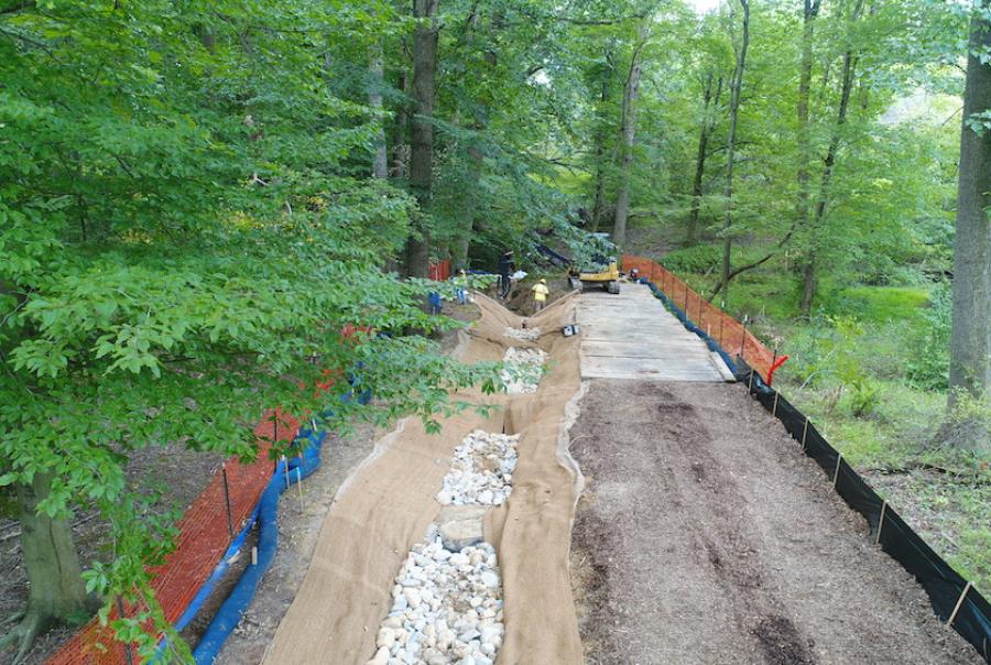 The project involved installing a sediment forebay near the inlet and stabilizing the outfall channel.