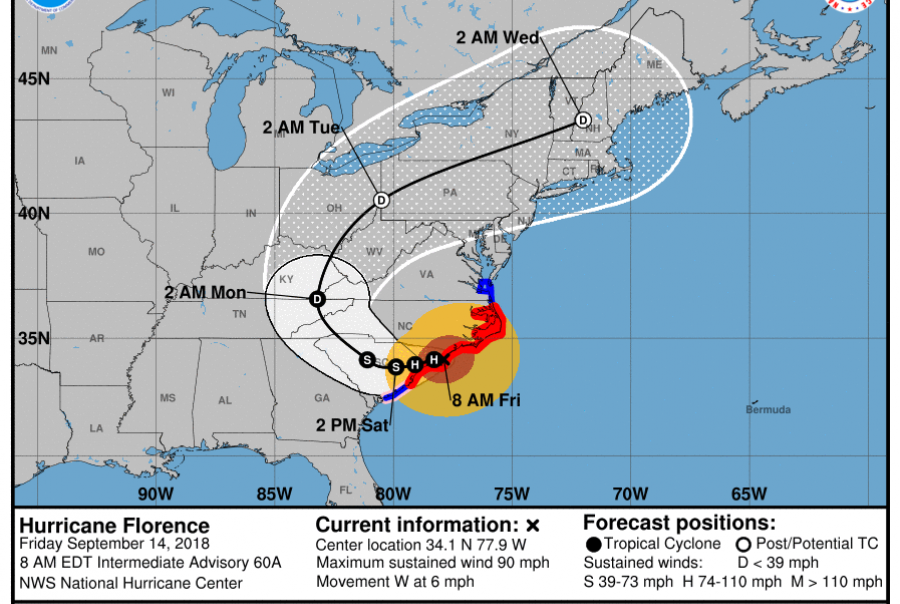 The Category 1 storm threatens widespread flooding