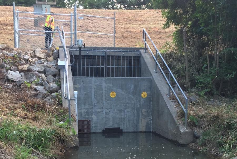 The system allows the basin to capture approximately 70,000 gal of runoff during a typical rainfall event.